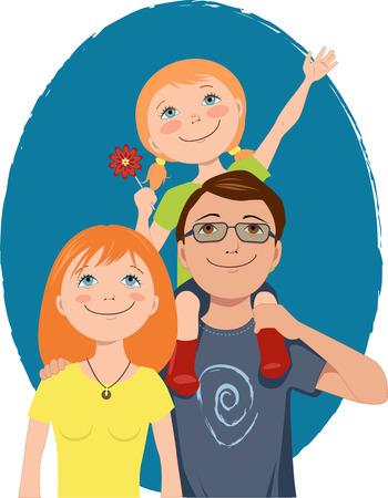 Vater mit einem kleinen Mädchen auf der Schulter, lächelnden jungen Mutter posieren für ein Familienporträt, Vektor-Illustration Vektorgrafik
