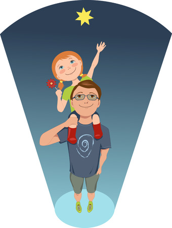 early childhood: Reach for a star  Girl sitting on her father s shoulders, trying to reach the star, conceptual illustration for early childhood development