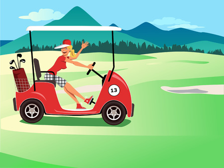 Female golfer in a cart smiling and waving, beautiful golf course landscape on the background, vector illustration