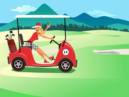 Vrouwelijke golfer in een kar glimlachen en zwaaien, prachtige golfbaan landschap op de achtergrond, vector illustratie