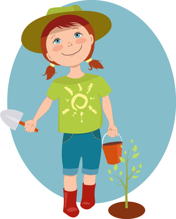 Cute cartoon girl with a basket and scoop planting a tree sprout, vector illustration Иллюстрация