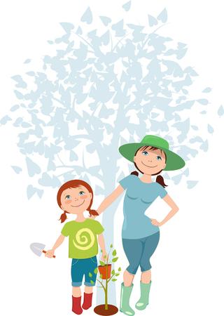 baum pflanzen: Mutter und Tochter einen Baum pflanzen