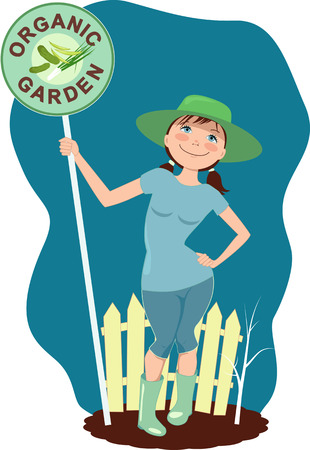 plant stand: Cute cartoon woman holding a sign for organic garden standing in front of a fence near a tree sapling in a hat and rubber boots, vector illustration Illustration