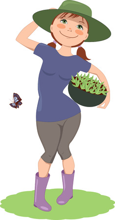 Cute cartoon woman gardener in a hat and rubber boots, standing with a basket of sprouts, vector illustration