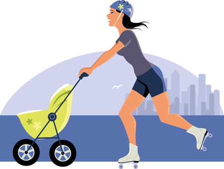 Young woman with a stroller roller skating Vector