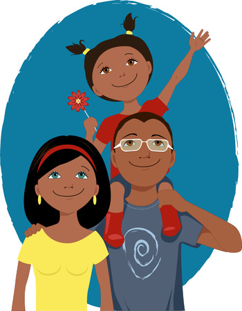 black family smiling: Happy cartoon family portrait Illustration
