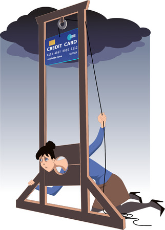 Depressed woman lying in a guillotine and releasing a blade in a form of giant credit card