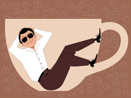 break in: Coffee break  Cartoon man in sunglasses relaxes in a cup of coffee, vector illustration, no transparencies Illustration