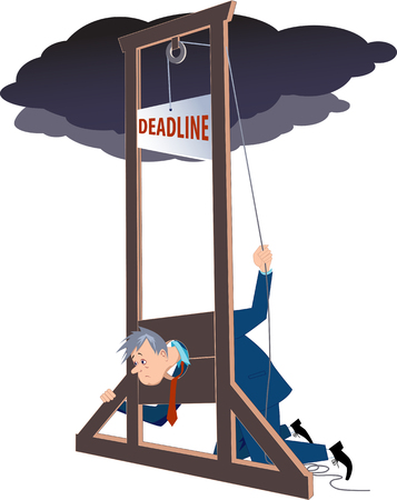 doomed: Businessman under a guillotine deadline