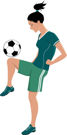Young girl playing football or soccer, kicking a ball with her knee, vector illustration