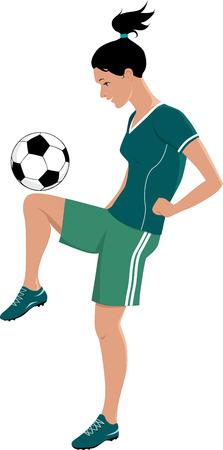 Jong meisje spelen voetbal of voetbal, schoppen een bal met haar knie, vectorillustratie