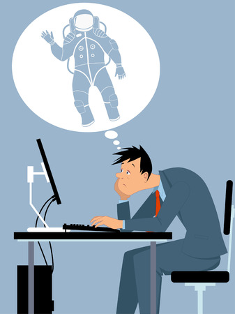 Man, stuck in a dead-end job, dreaming of a different, exciting career, vector illustration