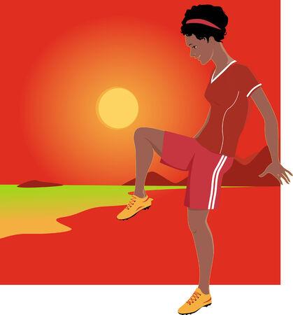 latina: Young latina woman playing football with a sun