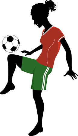 kick out: Silhouette of a teenage girl playing football or soccer