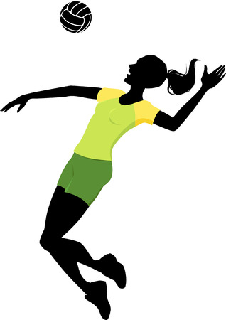 volleyball team: Silhouette of a woman playing volleyball Illustration