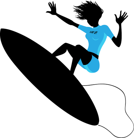 female athlete: Silhouette of a woman surfing