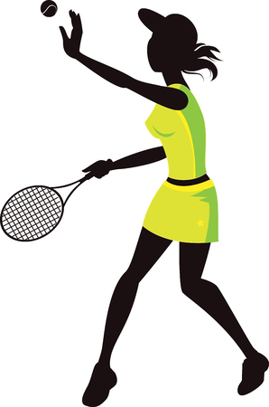 Silhouette of a woman playing tennis