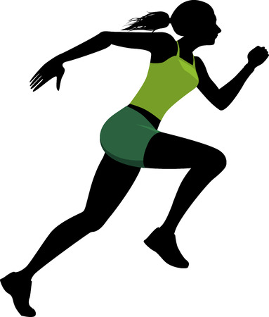 woman run: Silhouette of a running woman