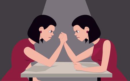 Vrouw arm worstelen met zichzelf, illustreren persoonlijkheid kwesties, vectorillustratie