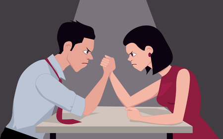adult sex: Man and woman arm wrestling, representing gender conflict, vector illustration