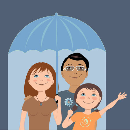 Cute cartoon family under an umbrella, metaphor for insurance coverage, vector illustration Vector