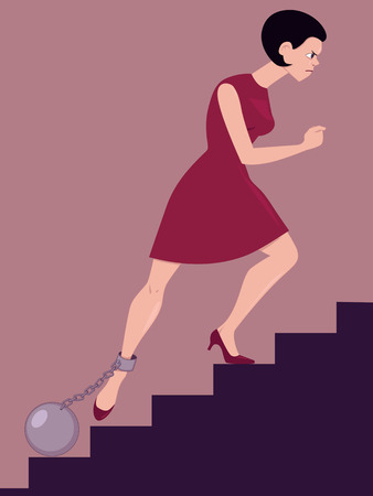 Perseverance   Determined woman climbing the stairs with a cannon ball chained to her leg Illustration