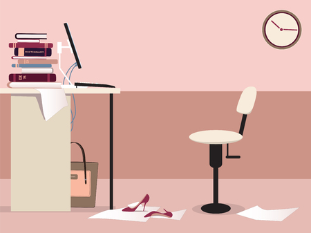Empty office work station with a desk, computer, office chair, clock and some woman s personal items Vector
