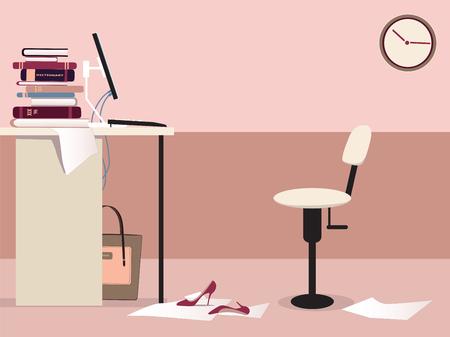 Leeg kantoor werkplek met een bureau, computer, bureaustoel, klok en een vrouw s persoonlijke spullen Stock Illustratie