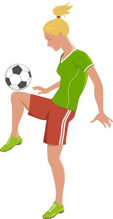 Blonde tiener voetballen, schopt een voetbal met haar knie, vectorillustratie