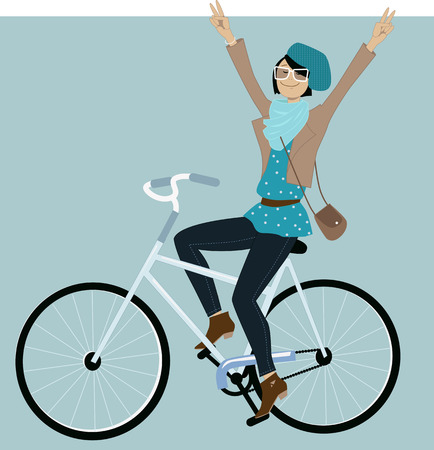 Young hipster girl riding a bicycle and flashing peace signs, vector illustration
