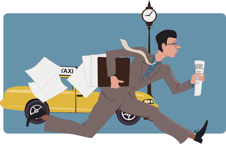 running late: Businessman running down a city street with a newspaper and losing papers from his folder, vector illustration