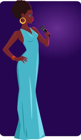 ステージ上の女性ジャズ シンガー  イラスト・ベクター素材