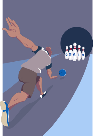 bowling alley: Man striking bowling pins with the word goals written on them in a bowling alley, conceptual vector illustration Illustration