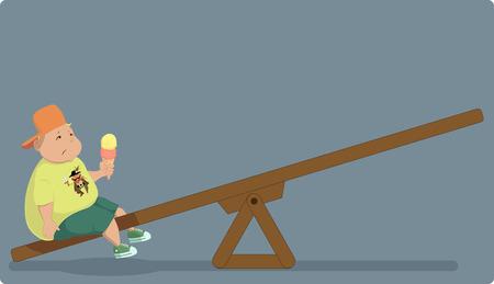 obesidad infantil: La obesidad infantil sobrepeso de chico sentado solo en un sube y baja, ilustración vectorial