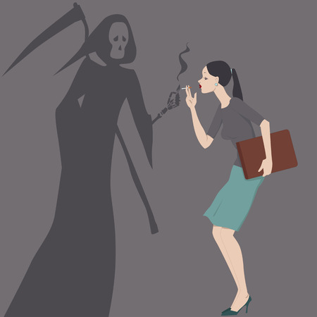 Grim Reaper giving a light to a woman with a cigarette