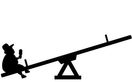 Silhouette of an overweight boy sitting alone on a seesaw Çizim