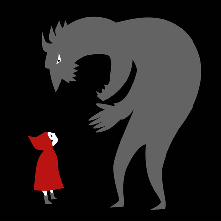 Little red riding hood and a predator Illustration