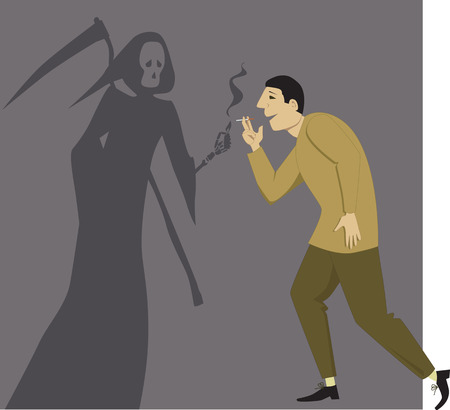 dangerous man: Grim Reaper giving a light to a man with a cigarette, vector illustration