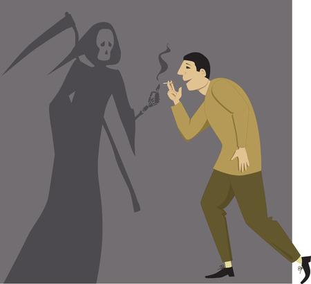 Reaper Grim dando una luce a un uomo con una sigaretta, illustrazione vettoriale Archivio Fotografico - 27898589
