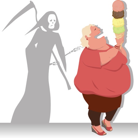 heart attack: Grim Reaper touches an overweight woman, holding a giant ice cream cone, vector illustration