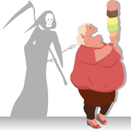 Parca toca una mujer con sobrepeso, con un cono de helado gigante, ilustración vectorial Foto de archivo - 27898595