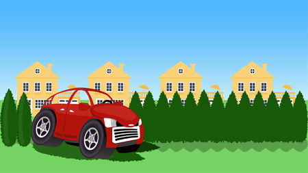 hedges: Cartoon car drives through hedges