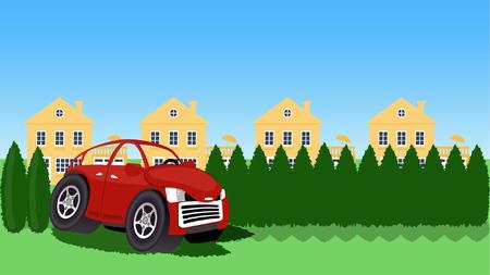 Cartoon car drives through hedges