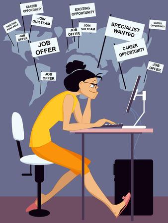 internet search: Internet job search Illustration