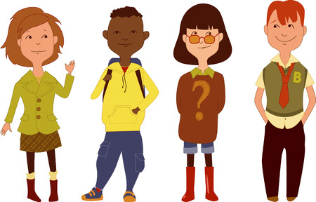 young asian girl: Set of school children characters