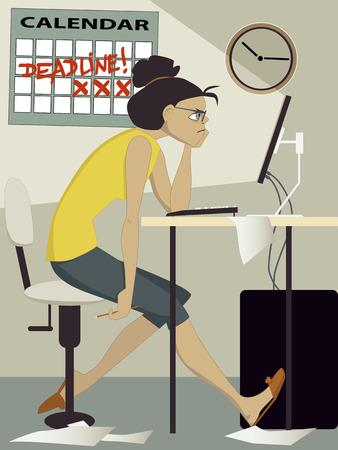 좌절 된 여자는 집에서 그녀의 컴퓨터에서 작업