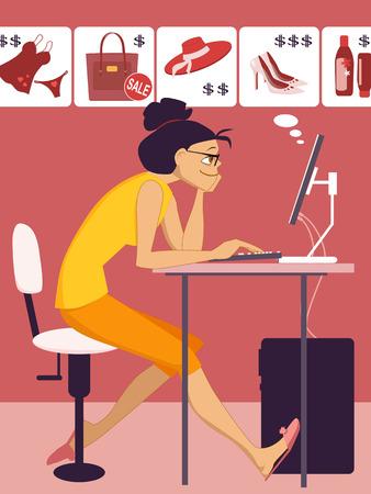 Vrouw winkelen in een online winkel Stock Illustratie