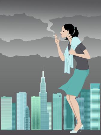 Mujer que fuma crea smog sobre un horizonte de la ciudad Foto de archivo - 28071494