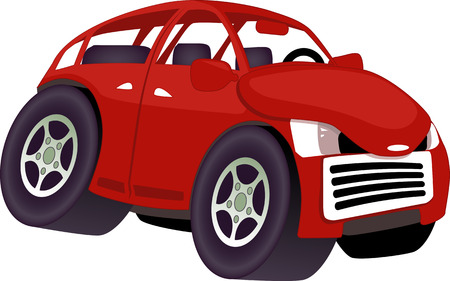 Angry cute red cartoon car isolated on white