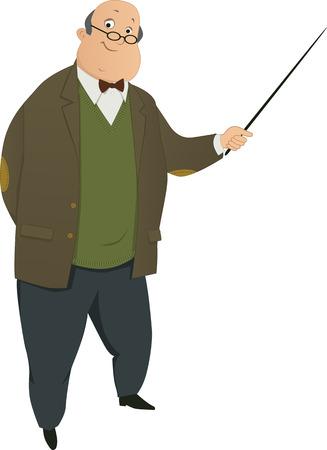 만화 교수 또는 교사 문자는 흰색 그림에 고립